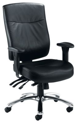 Marathon Black Leather Call Centre Chair With Chrome Swivel Base