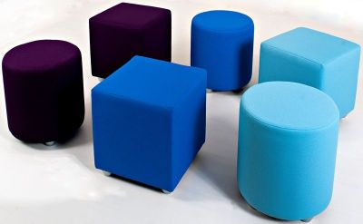 Mojo Group Of Office Stools, Cubes And Cylinders In Light Blue, Dark Blue And Deep Purple