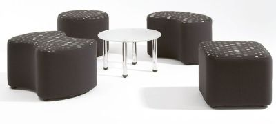 Staff Room Arrangment Of Flo Modular Seating In Black With Polka-dot Tops And Glass Coffee Table With Chrome Legs