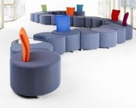 Waiting Room Layout Using Flo Furniture Range In Grey With Orange,blue And Green Back Supports