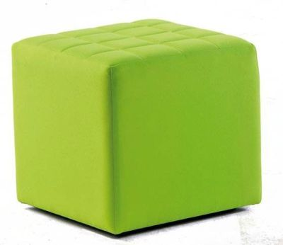Quba Contemporary Single Seater Stool In Grass Green Fabric With Textured Surface