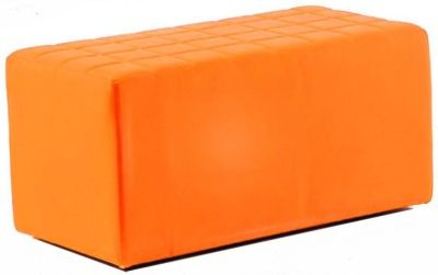 Quba Two Seater College Stool In Tangerine Orange Faux Leather With Quilted Effect Top