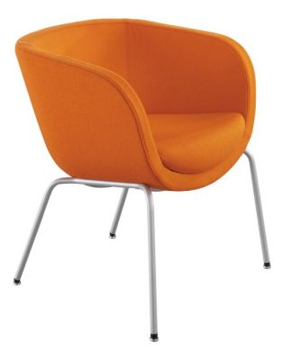 Karma Tub Chair On Four Legged Chrome Base With Orange Upholstery