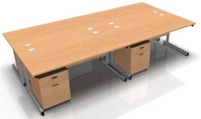 Abacus Four Desk And Mobile Pedestal Bundle Deal