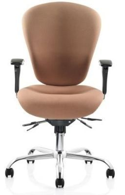 Sphere 24 Hour Operator Chair In Flesh Coloured Fabric With Arms And Chrome Base