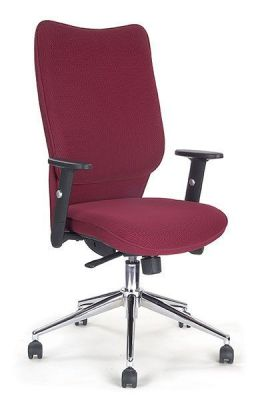 Panama Deep Red Airflow Fabric Operator Chair With Armrests And Designer Chrome Base