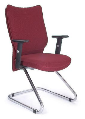 Panama Dark Red Cantilever Visitor Chair With Chrome Frame