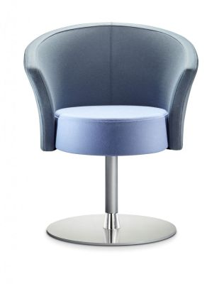 Bobbin Grey And Blue Designer Chair With Fixed Circular Base