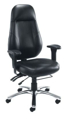 Cheetah Black Leather Executives Office Chair With Extra Large Back