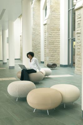 Pebble Universal Seating Stools In Beige With Chrome Legs