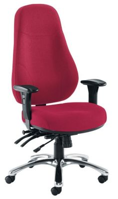 Chettah Office Chair Upholstered In Red Fabric With Extra High Back And Chrome Base