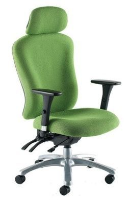 Zado Contoller Chair With Moulded Green Back And Seat And Headrest, With Arm Supports And Castors