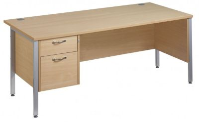 GM H Frame Desk With Two Drawer Pedestal