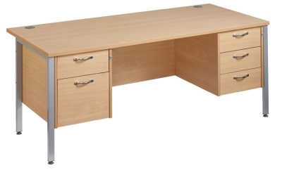 GM H Frame Desk With A 2 Drawer And 3 Drawer Pedestal