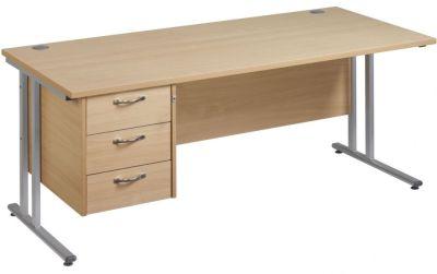 Gm Rectangular Desk And Three Drawer Pedestal
