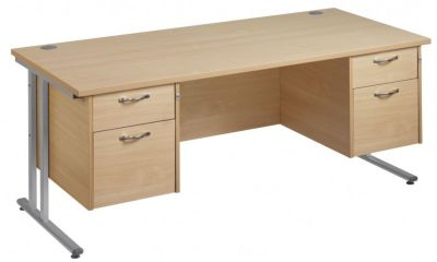 Gm Rectangular Desk With Twe Sets Of Two Drawer Units