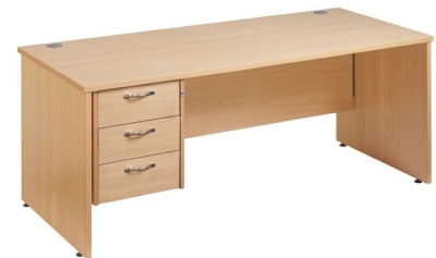 Gm Rectangular Panel Desk With A Three Drawer Suspended Pedestal