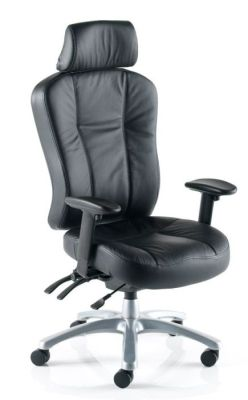 Zado 24 Hour Use Black Leather Managers Chair With Deep Foam Cushioning