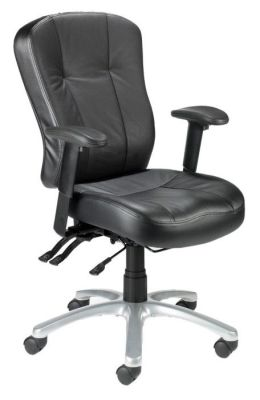 Zado Office Black Leather Swivel Chair With Arm Rests And Chrome Spider Base