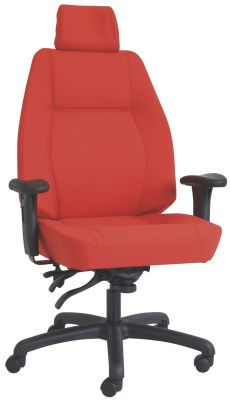 Delta Red Fabric Heavy Duty 24hr Use Operators Chair With Headrest
