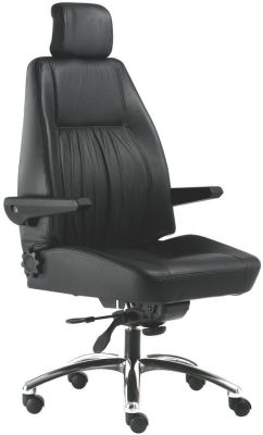 Delta Black Leather Multi Task Chair With Adjustable Arms And Chrome Base