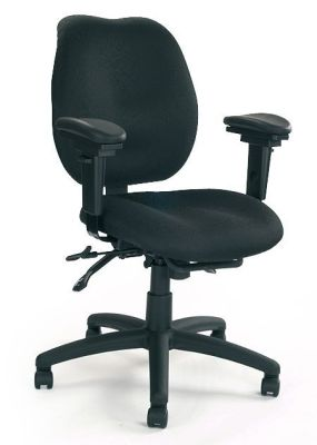 Tulip Medium Curved Backrest Black Fabric Computer Swivel Chair