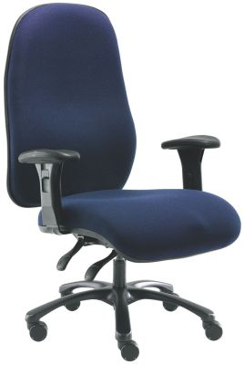 Extra Large Swivel Office Chair With Large Waterfall Front Seat In Dark Blue Fabric