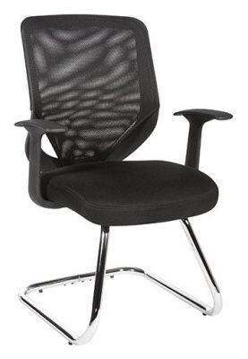 Bisoto Black Mesh Back And Upholstered Seat Cantilever Visitors Chair