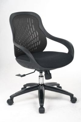 Croft Contemporary Black Mesh Chair With Designer Base And Waterfall Seat Front