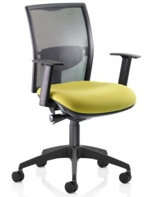 Refresh Computer Desk Chair With Black Soft Mesh Back, Green Upholstered Seat And Arm Rests