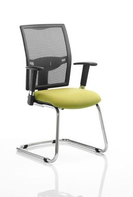 Refresh Cantilever Visitor Chair With Black Mesh Back And Green Seat