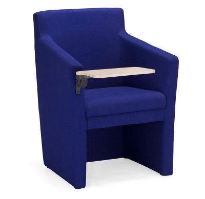 Club Tub Chair In Blue Fabric With Writing Tablet