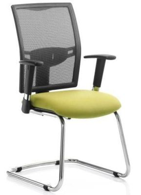 Refresh Cantilever Mesh Conference Chair With Pale Green Deep Foam Seat And Armrests