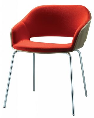 Halo Designer Red Chair With Four Silver Legs