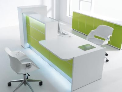 Valde Reception Desk With Lime Green Illumintated Front Panel And Wheelchair Access Desk