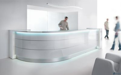 Valde High Gloss White Curved Reception Desk With Illumination