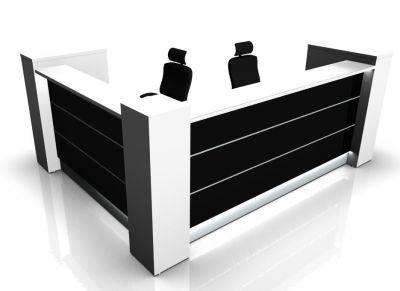 Valde L Shaped Reception Desk With High Gloss Black Illuminated Front Panels