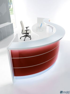 Valde Reception Desk Burgundy Coloured Front Detail