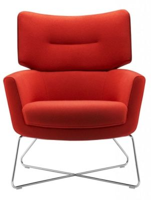 Kala Red Padded Restroom Armchair