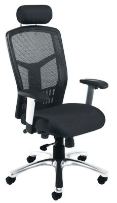 Ferzo Mesh Chair With Head Rest And Armrests With Black Upholstered Seat