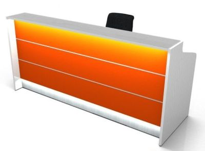 Valde Reception Desk With Orange Illuminated Front And Side Panels