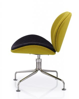 Giggler Staff Chair In Two Tone Fabric With Chrome Swivel Base