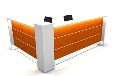Valde L Shaped Reception Desk With High Gloss Orange Illuminated Front Panels