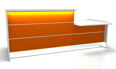Valde Straight Reception Desk With Wheelchair Access Area With Illuminated Orange Fronts