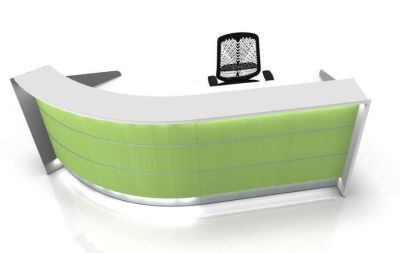 Valde Curved Reception Desk Lime Green Illuminated Front Panels