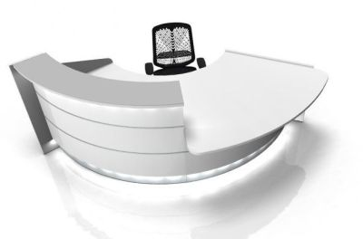 Valde White 60 Degree Curved Reception Desk With Illuminated Fronts