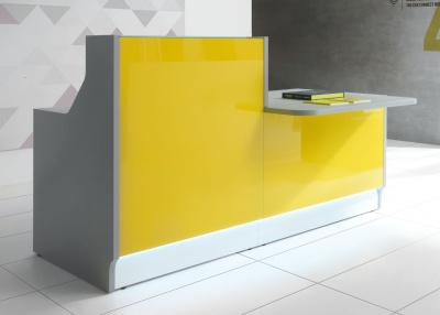 LX Recption Desk With Yellow Glass Fronts