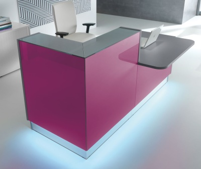 LX Fuchsia Glass Reception Desk With Wheelchair Access Desk