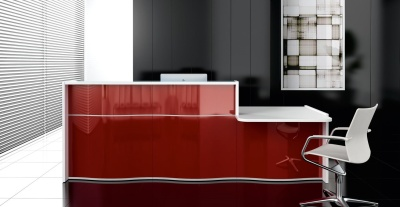 Indulge Wave Reception Desk With Burgundy High Gloss Fronts