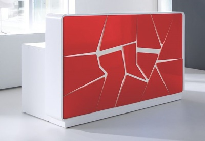 Artic Splash Reception Desk With Red Overlay